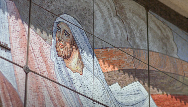 Tile mosaic of Jesus